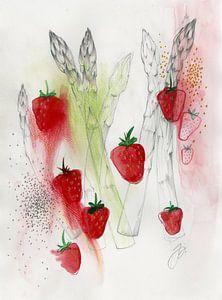 Spargel Erdbeer Salat Food Illustration van Pünktchenpünktchen Kommastrich