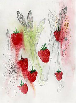 Spargel Erdbeer Salat Food Illustration van