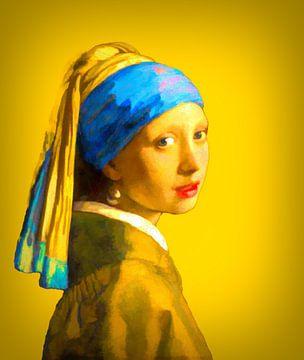 Fille avec une boucle d'oreille en perle sur fond d'or sur Foto Amsterdam/ Peter Bartelings