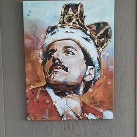 Klantfoto: Freddie Mercury schilderij van Jos Hoppenbrouwers, op canvas