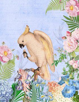 Tropische vogel in de blauwe bloemenjungle van Uta Naumann