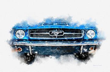1964 Ford Mustang Pony Car Digitaal schilderen in aquarel van Andreea Eva Herczegh