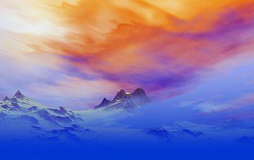 Besneeuwde bergen in de schemering van Angel Estevez