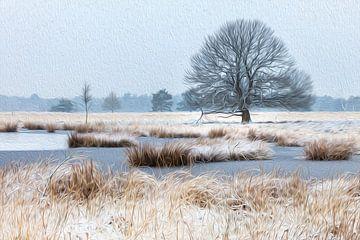 Verschneiter Baum im Winter (Ölfarbe) von Karla Leeftink