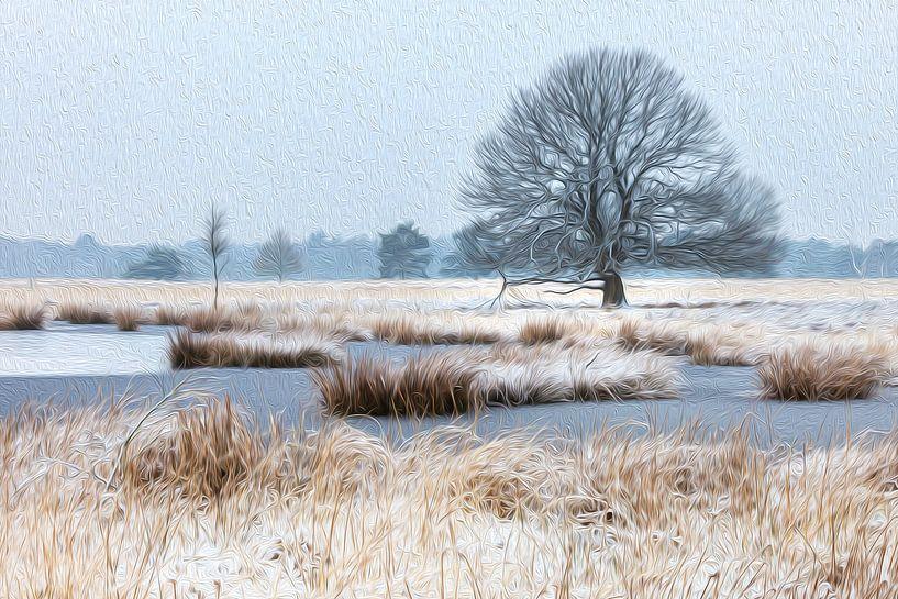 Besneeuwde boom bij winters ven (olieverf) van Karla Leeftink