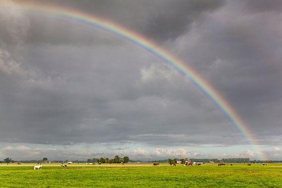 Regenboog over de weilanden van Dorkwerd  van Evert Jan Luchies