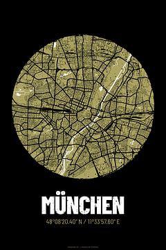 München – City Map Design Stadtplan Karte (Grunge) von