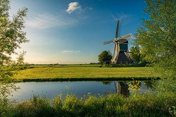 Polderlandschaft Windmühle im letzten Licht von Coen Weesjes
