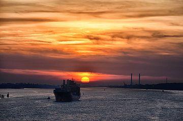 Zonsondergang op de Elbe van Iris Heuer