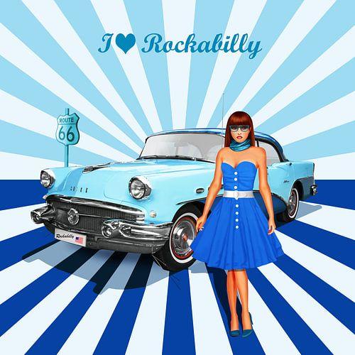 Ik hou van rockabilly versie 2 in Blue