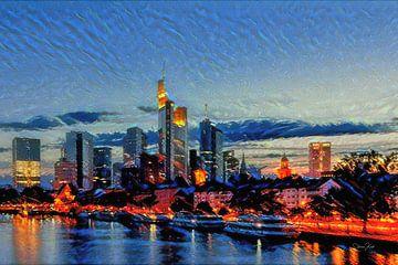 Stijlvol kunstwerk Frankfurt: Rivier de main met skyline