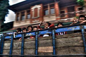 Schoolgirls On A Truck