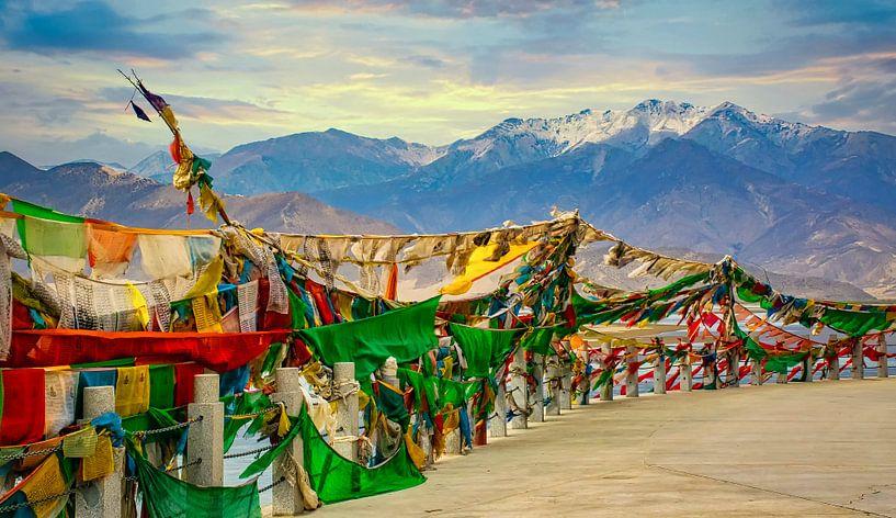 Gebedsvlaggen voor de bergen van de Himalaya, Tibet van Rietje Bulthuis