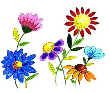 Handgezeichnete Illustration von Blumen von Ivonne Wierink