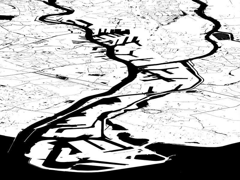 Havenkaart Rotterdam - witzwart van Frans Blok