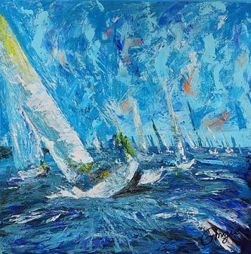 Zeilboten blauw van Angelique Nooijen