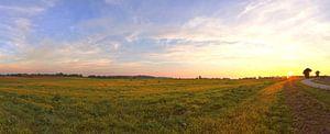 Panorama van een zonsondergang in een prachtig landschap