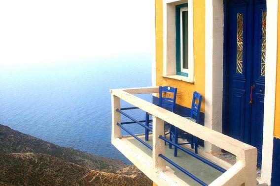 Terrasje met uitzicht, Griekenland