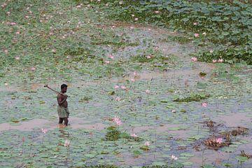 Man wadend door vijver met bloeiende lotussen van Danielle Roeleveld