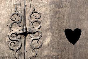 historisch houten vensterluik in Quedlinburg