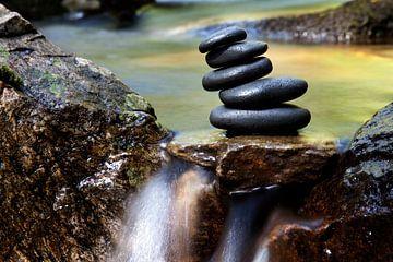 Stenen stapel in de kreek van Jürgen Wiesler