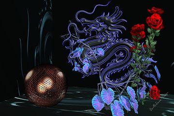 3D-illustratie. Dragon en Rose zijn één. van Norbert Barthelmess