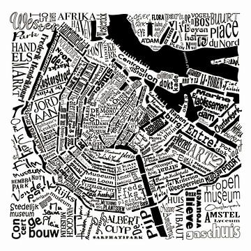 Amsterdam,  typografische plattegrond met A'dam toren