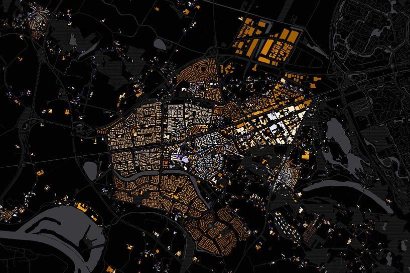 Kaart van Wijchen abstract van Stef Verdonk