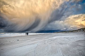 Donkere neerslag wolken boven strand en zee van eric van der eijk