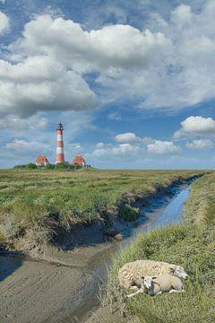 Westerhever vuurtoren in Noord-Friesland van Peter Eckert