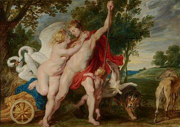 Gemälde: Venus versucht, Adonis von der Jagd abzuhalten von Atelier Liesjes