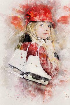 Meisje met kunstschaatsen (kunstwerk) van Art by Jeronimo