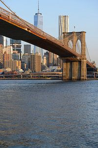 Brooklyn Bridge in New York in de ochtend met One World Trade Center