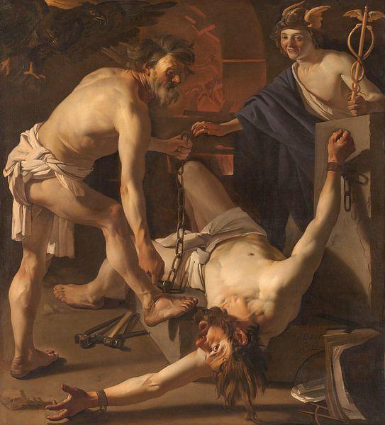 Prometheus angekettet von Vulkanier, Dirck van Baburen, 1623 von Marieke de Koning
