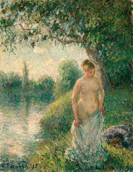 Der Badende, Camille Pissarro von Meesterlijcke Meesters