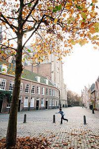 Pieterskerk in Leiden in herstlicht van