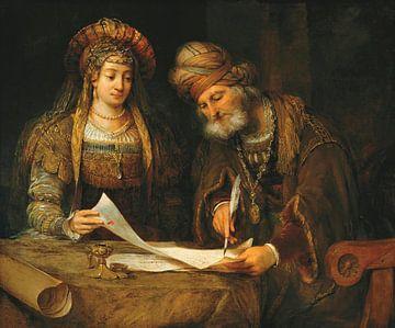 Esther und Mordecai schreiben den ersten Brief von Purim, Aert de Gelder