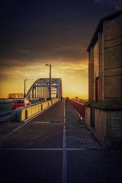 Dark clouds and traffic over de John Frostbridge in Arnhem