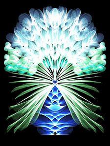 Veren bloemen neon turkoois van Heidemarie Andrea Sattler