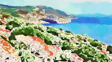 Kleurrijk landschap van de Kust van Porto Conte Sardnië - Schilderij