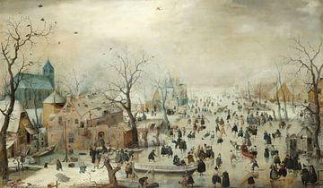 Winterlandschap met schaatsers, Hendrick Avercamp