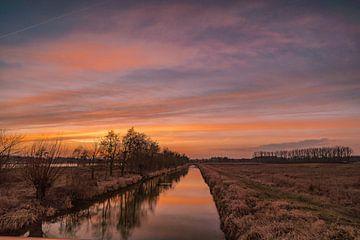 """Zonsondergang bij de rivier """" Aller"""" Wolfsburg"""