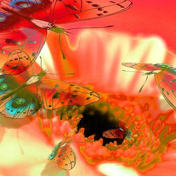 Digitaal werk met vlinders van Ton Kuijpers