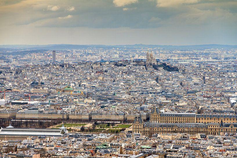 Uitzicht over Parijs met de Sacre Coeur en het Louvre van Dennis van de Water