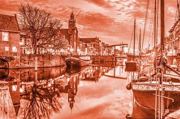 Crépuscule à Delfshaven - monochrome sur Frans Blok