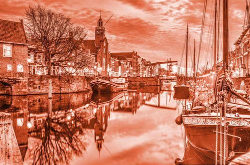 Crépuscule à Delfshaven - monochrome