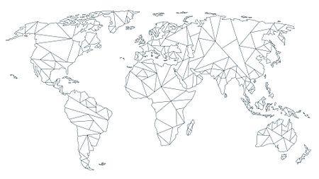 Géométrie Carte du monde - Noir sur blanc