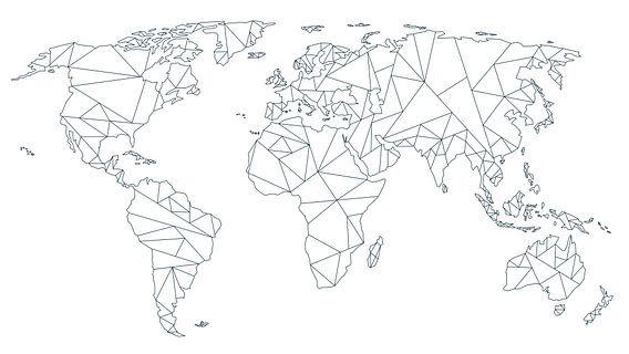 Wereldkaart Geometrisch - Zwart op Wit
