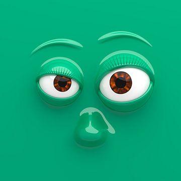 Grappig gezicht groen van Jörg Hausmann