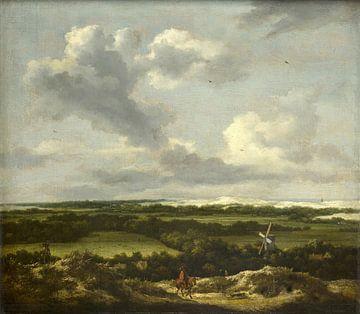 Paysage de dunes avec chasse au lapin, Jacob van Ruisdael sur